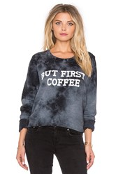 Tyler Jacobs But First Coffee' Billie Hi Lo Long Sleeve Tee Navy