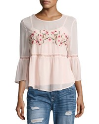 Romeo And Juliet Couture Floral Embroidered Chiffon Blouse Pink