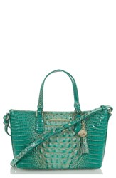 Brahmin Melbourne Mini Asher Leather Tote Blue Green Turquoise