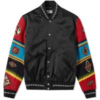 Saint Laurent Ethnic Patch Satin Teddy Jacket Black