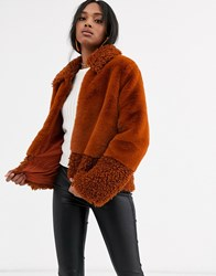 Y.A.S Faux Fur And Teddy Mix Short Coat Red