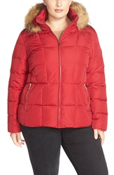 Calvin Klein Hooded Down And Feather Fill Jacket With Faux Fur Trim Plus Size Crimson