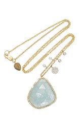 Meira T Yellow Gold And Milky Aqua Charm Necklace Blue