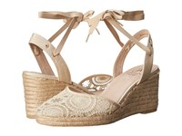Adrianna Papell Penny Natural Barcelona Lace Women's Wedge Shoes Neutral