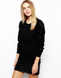 Minimum Sweater With Contrast Sleeves Black