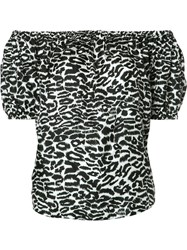 Piamita Off Shoulders Leopard Print Blouse White