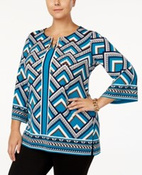 Jm Collection Plus Size Chevron Print Chain Neck Top Created For Macy's Teal Chevron Magic