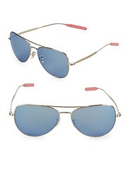 Paul Smith Davison 58Mm Aviator Sunglasses Gold