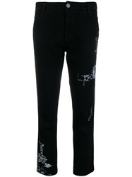 Ermanno Scervino Printed Straight Leg Trousers Black