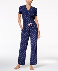 Nautica Inverted Notch Collar Top And Pants Knit Pajama Set Navy