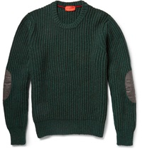 Isaia Elbow Patch Ribbed Yak Sweater Green