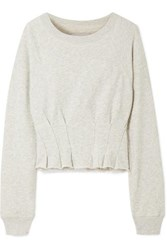 Current Elliott The Pintucked Frayed French Cotton Terry Sweatshirt Gray