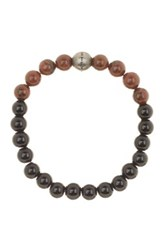 Steve Madden Jasper And Onyx Beaded Stretch Bracelet Brown