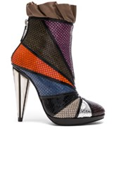 Rodarte Embossed Metallic Leather Ankle Booties In Purple Green Orange Animal Print Purple Green Orange Animal Print