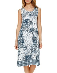 Ellen Tracy Plus Trapeze Patterned Gown Ivory Blue
