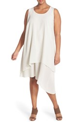 Plus Size Women's Eileen Fisher Layered Asymmetrical Silk Round Neck Knee Length Dress Bone