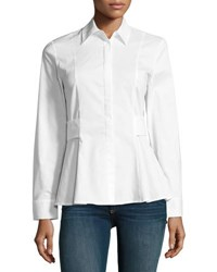 Marled By Reunited Clothing Long Sleeve Tie Back Stretch Cotton Blouse White
