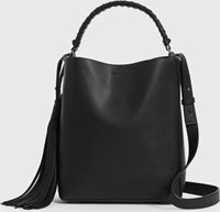 Allsaints Shirley Small North South Leather Tote Bag Black