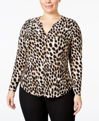 Inc International Concepts Plus Size Animal Print Blouse Only At Macy's Cheetah
