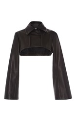 J.W.Anderson Cropped Trench Leather Jacket Black