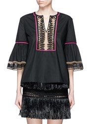 Temperley London 'Clara' Leaf Guipure Lace Peasant Blouse Black