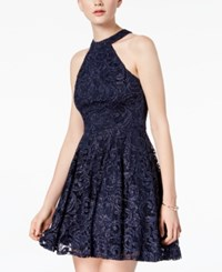 B. Darlin B Juniors' Glitter Lace Halter Dress Navy