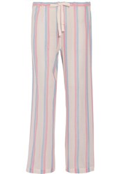 Solid And Striped Cotton Gauze Wide Leg Pants Blue