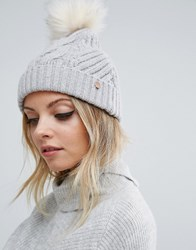 Ted Baker Lisabet Cable Knitted Pom Pom Beanie Grey