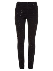 Etoile Isabel Marant Ennet Paint Splash Print High Rise Skinny Jeans Black Multi