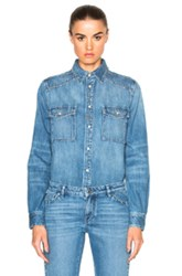 Givenchy Studded Denim Shirt In Blue