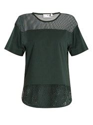 Adidas By Stella Mccartney Mesh Panelled Cotton T Shirt Dark Green