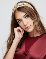 Asos Statement Metallic Flower And Jewel Headband Black