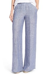 Petite Women's Nic Zoe 'Drifty' Linen Wide Leg Pants Indigo Mix
