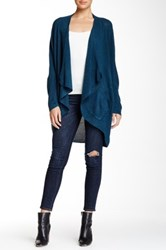 Sweet Romeo Open Front Mesh Stitch Cardigan Blue