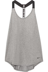 Nike Mesh Trimmed Dri Fit Stretch Jersey Tank Gray