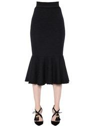Dolce And Gabbana High Waist Flared Cotton Pique Skirt