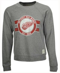 Retro Brand Men's Detroit Red Wings Tri Blend Crew Neck Sweatshirt Heather Gray