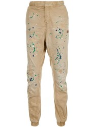 Prps Paint Splatter Tapered Trousers Nude And Neutrals