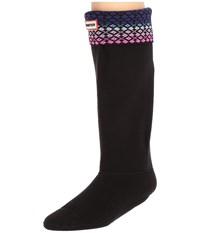 Hunter Original Tall Boot Sock Fair Isle Lattice Nylon Neptune Ion Pink Knee High Socks Shoes Black
