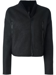 Isabel Benenato Zipped Shearling Jacket Black