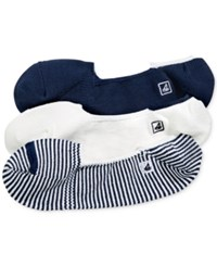 Sperry Skimmer Socks 3 Pack Navy White Stripes