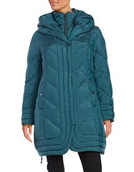 Gallery Hooded Down Coat Teal Blue