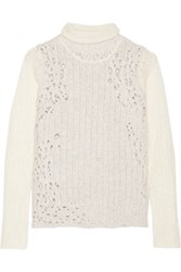 3.1 Phillip Lim Open Knit Wool Blend Turtleneck Sweater Cream