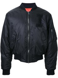 Iceberg Logo Patch Bomber Jacket Black