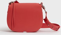 Allsaints Captain Leather Round Crossbody Bag Coral Pink