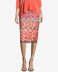 Eci Embroidered Pencil Skirt Pink