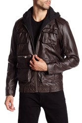 Members Only Faux Leather L Train Jacket Brown