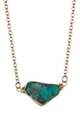 Leila Wire Wrapped Turquoise Freeform Pendant Necklace Green