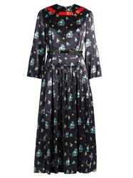 Toga Floral Print Contrast Ribbon Satin Dress Navy Multi