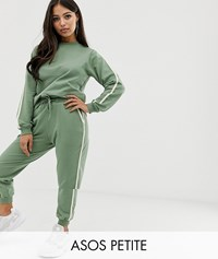 Asos Design Petite Tracksuit Cute Sweat Basic Jogger With Tie With Contrast Binding Green